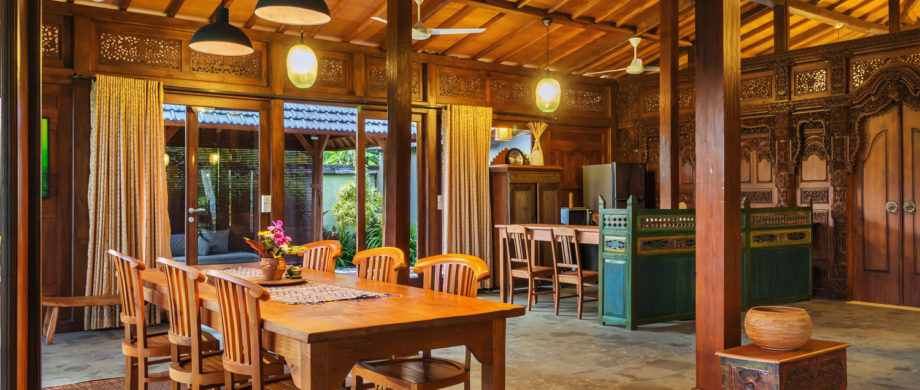 Interior photo of Villa Saraswati at Citakara Sari Estate in Bali featuring dining room and patio