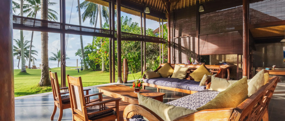 Ocean view from the grandiose semi-open living space at Villa Yoga Bale at Citakara Sari Estate